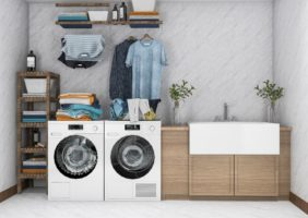 A small laundry room layout that is efficient and organized