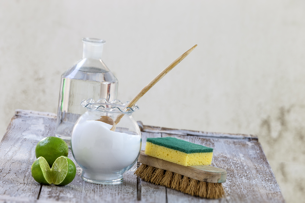 Ingredients for floor or kitchen cleaner baking soda, lime and water.